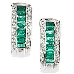 D'Yach 14k White Gold Emerald and 1/3ct TDW Diamond Earrings (I-J, I1-I2)