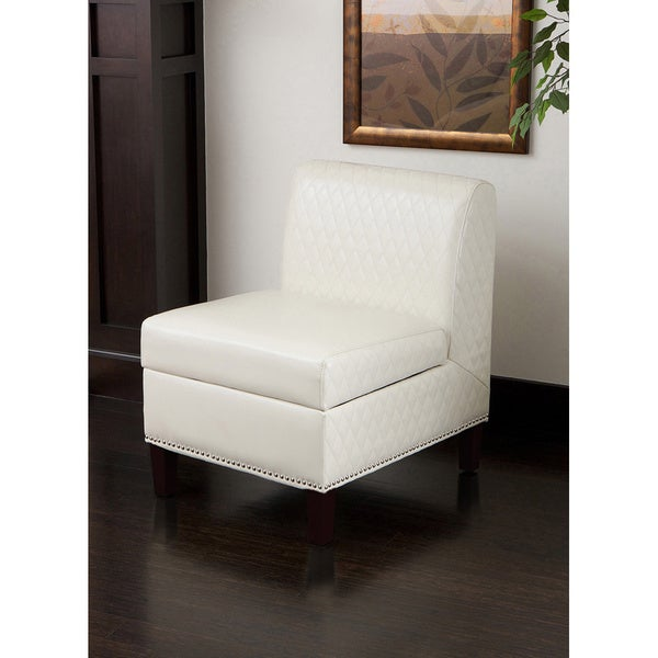 Felice Armless White Bonded Leather Club Chair