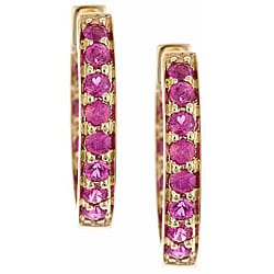 Anika and August D'Yach 14k Yellow Gold Ruby Hoop Earrings