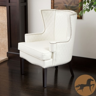 Christopher Knight Home Roma White Quilted Bonded Leather Arm Chair