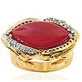 Michael Valitutti Two-tone Carnelian and White Sapphire Ring