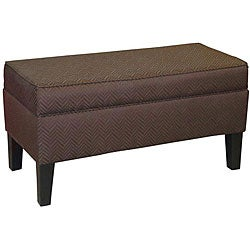 Manhattan Chocolate Brown Herringbone Upholstered Storage Bench