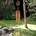 Bamboo and Suar Wood Mini Peace Sign Chime (Indonesia)