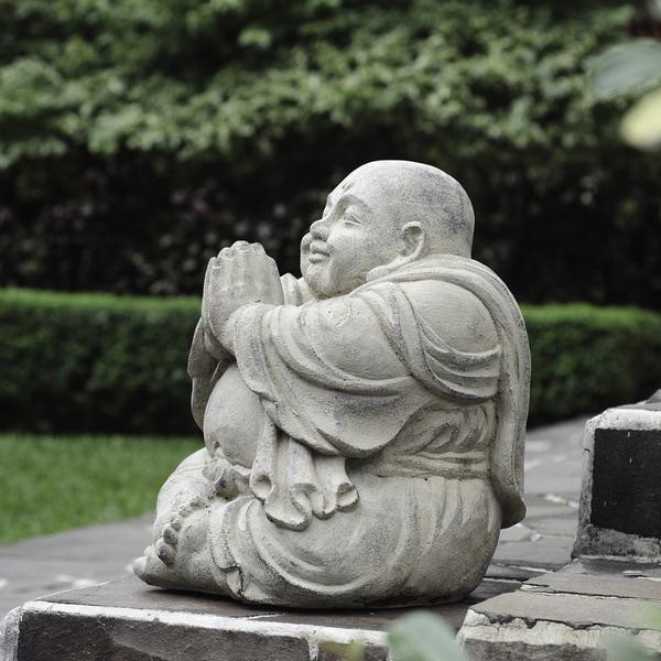 Stone Small Happy Buddha Praying Antique, Handmade in Indonesia