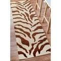 nuLOOM Zebra Animal Pattern Brown/ Ivory Wool Rug (2'6 x 12')