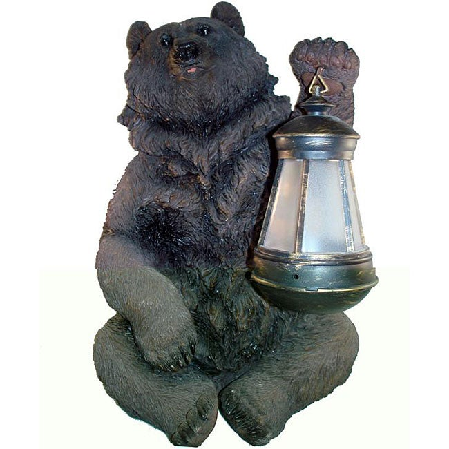 Brown Grizzly Bear Solar Lantern Light Overstock
