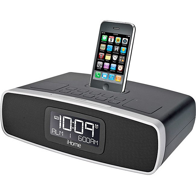 ihome black ip90 dual alarm clock radio with am fm radio. Black Bedroom Furniture Sets. Home Design Ideas