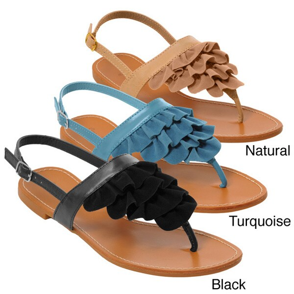 Sunny Feet by Journee Womens Ruffle Detail Sandal