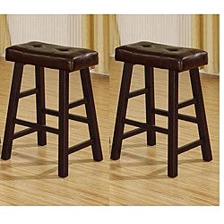24-inch Cherry Brown Bicast Leather Counter-height Saddle Bar Stools (Set of 2)