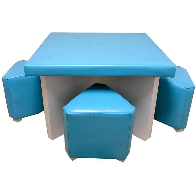 Children's Blue 5-piece Faux Leather Dining Set