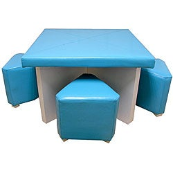 Children's Blue 5-piece Faux Leather Dining Set
