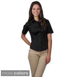 Journee Collection Women's Half-sleeve Fitted Blouse