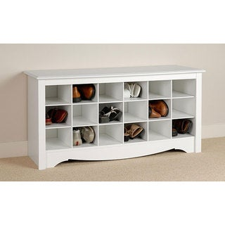 Winslow White Shoe Storage Cubbie Bench