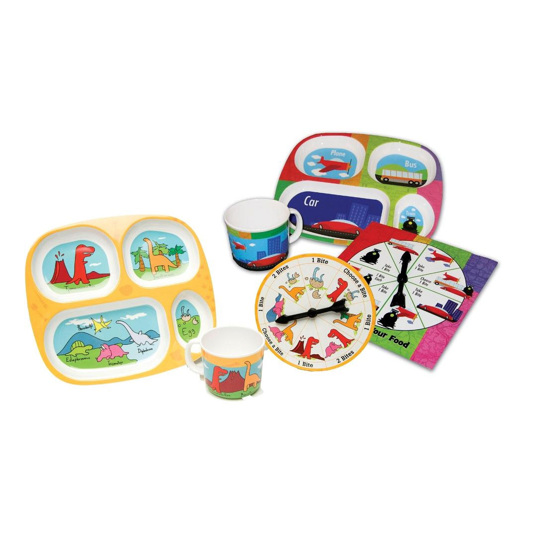 Play With Your Food Dinosaur and Transportation Double Eating Set