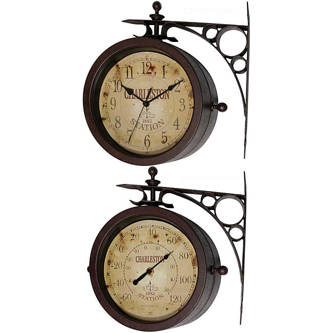 Two-sided Rustic Charleston Clock/ Thermometer