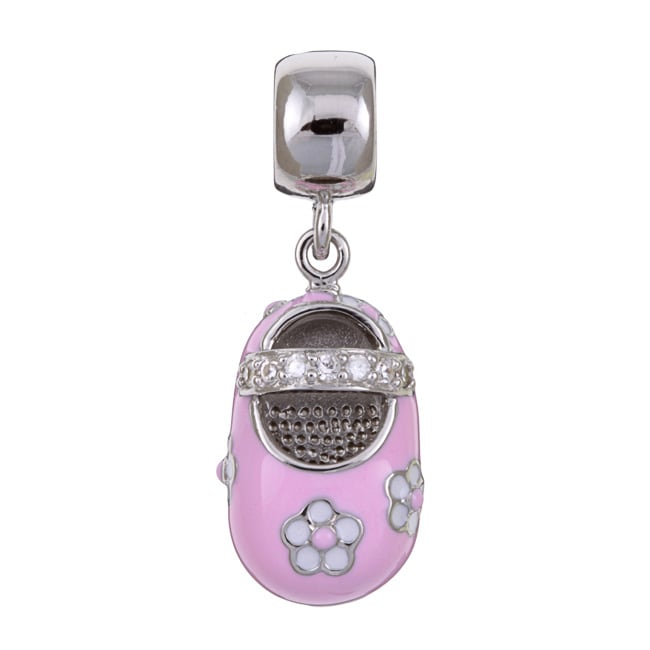 Sterling Essentials Sterling Silver Cubic Zirconia Pink Baby Girl Shoe Dangle Charm