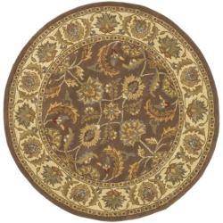 Safavieh Handmade Heritage Kerman Brown/ Ivory Wool Rug (6' Round)