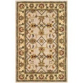 Handmade Heritage Mahal Ivory/ Light Gold Wool Rug (3' x 5')
