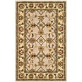 Handmade Heritage Mahal Ivory/ Light Gold Wool Rug (4' x 6')