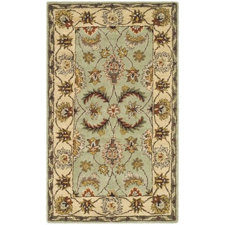 Handmade Heritage Oushak Light Green/ Ivory Wool Rug (4' x 6')