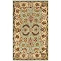 Handmade Heritage Oushak Light Green/ Ivory Wool Rug (5' x 8')