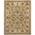 Handmade Heritage Oushak Light Green/ Ivory Wool Rug (8' x 10')