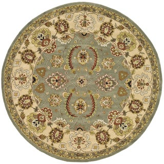 Safavieh Handmade Heritage Oushak Light Green/ Ivory Wool Rug (8' Round)