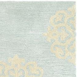 Contemporary Handmade Soho Medallion Light Blue New Zealand Wool Rug (2' x 3')