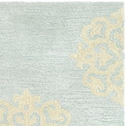 Contemporary Handmade Soho Medallion Light Blue New Zealand Wool Rug (2' x 3')