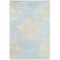 Handmade Soho Medallion Light Blue New Zealand Wool Rug (2' x 3')
