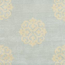 Handmade Soho Medallion Light Blue N. Z. Wool Runner (2'6 x 12')