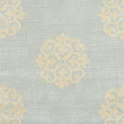 Safavieh Handmade Soho Medallion Light Blue N. Z. Wool Runner (2'6 x 12')