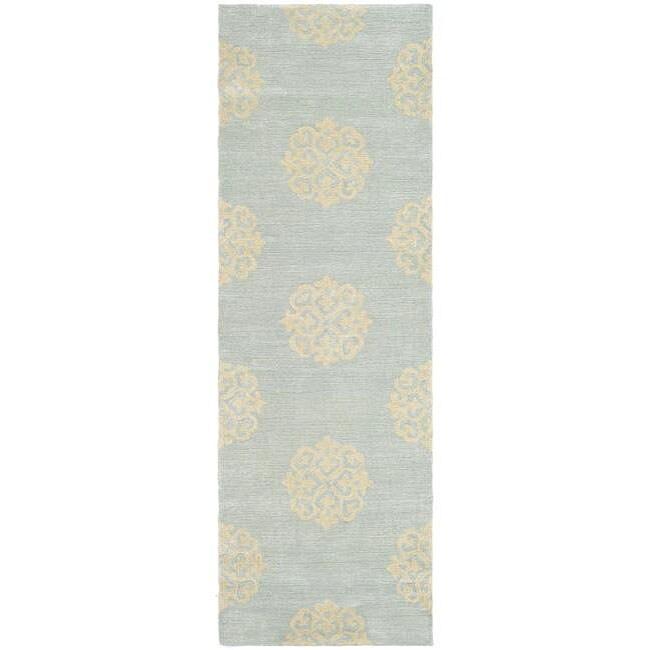 Safavieh Handmade Soho Medallion Light Blue N. Z. Wool Runner (2'6 x 8')