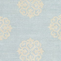 Safavieh Handmade Soho Medallion Light Blue N. Z. Wool Runner (2'6 x 8')