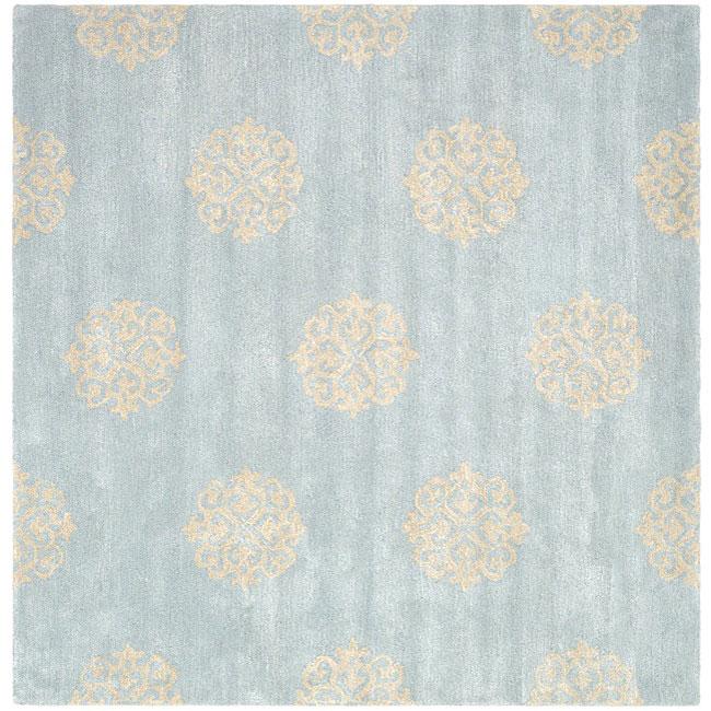 Safavieh Handmade Soho Medallion Light Blue N. Z. Wool Area Rug (6' Square)