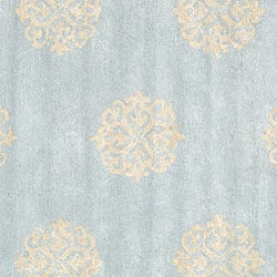 Handmade Soho Medallion Light Blue N. Z. Wool Rug (8' Square)