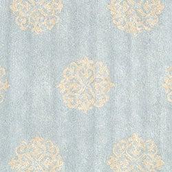 Handmade Soho Medallion Light Blue N. Z. Wool Rug (8' Square)