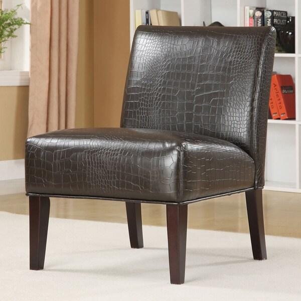 TRIBECCA HOME Decor Faux Alligator Leather Print Lounge Chair