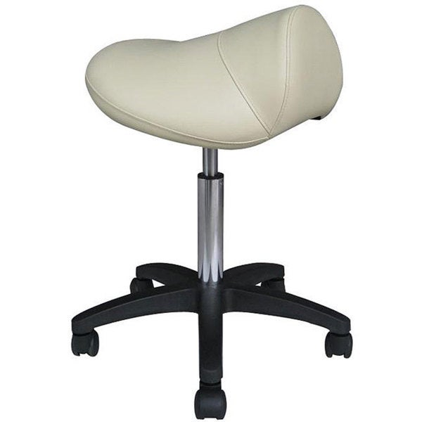 Pneumatic Beige Rolling Saddle Massage Stool