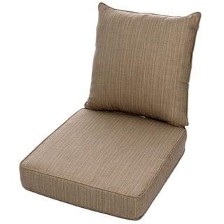 Clara Wicker Outdoor Arm Chair Cushion Throw Pillow Set