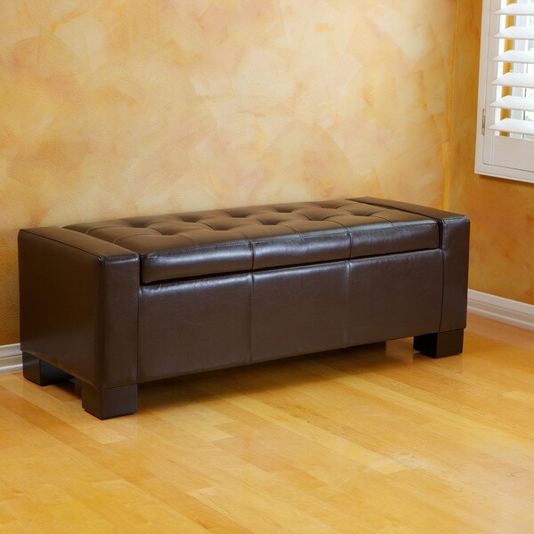 Christopher Knight Home Guernsey Brown Bonded Leather Storage Ottoman Bench