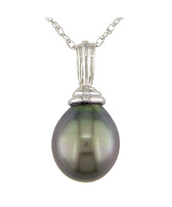 Miadora 14k White Gold Cultured Tahitian Drop Pearl Necklace (9-10 mm)