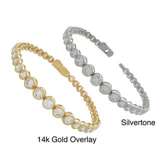 NEXTE Jewelry Overlay Graduated Clear Cubic Zirconia Tennis Bracelet