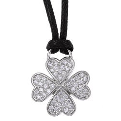 Rhodium-plated Brass Cubic Zirconia Clover Leaf Necklace