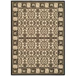 Safavieh Indoor/Outdoor Traditional-Pattern Black/Sand Rug (7'10