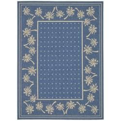 Safavieh Indoor/Outdoor Blue/Ivory Bordered Rug (2'7 x 5')
