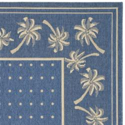 Indoor/Outdoor Blue/Ivory Area Rug (5'3