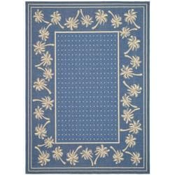 "Safavieh Antimicrobial Blue/Ivory Indoor/Outdoor Rug (7'10"" x 11')"