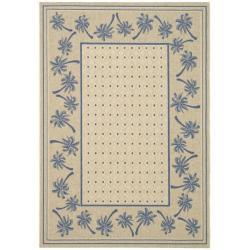 Safavieh Indoor/ Outdoor Ivory/ Blue Rug (6'7 x 9'6)