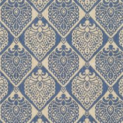 Indoor/ Outdoor Blue/ Ivory Rug (5'3 x 7'7)